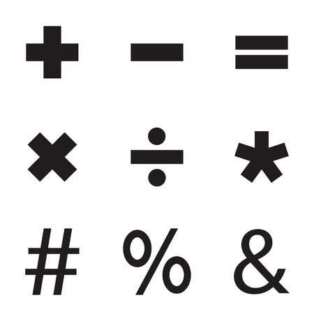 Basic Mathematical symbols. Vector illustration. Illustration