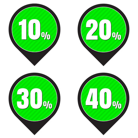 20 30: Sale, discount labels. Special offer price signs. 10, 20, 30 and 40 percent off reduction symbols.