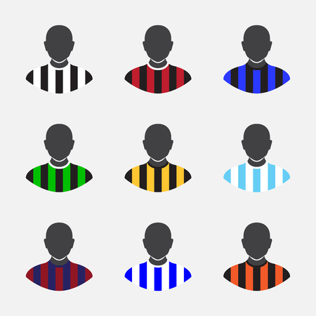 jerseys: Collection of various soccer jerseys on gray background.