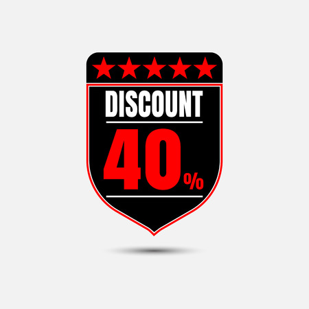 Sale, discount labels. Special offer price signs. 40 percent off reduction symbol.