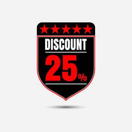 price reduction: Sale, discount labels. Special offer price signs. 25 percent off reduction symbol.