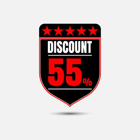 Sale, discount labels. Special offer price signs. 55 percent off reduction symbol.