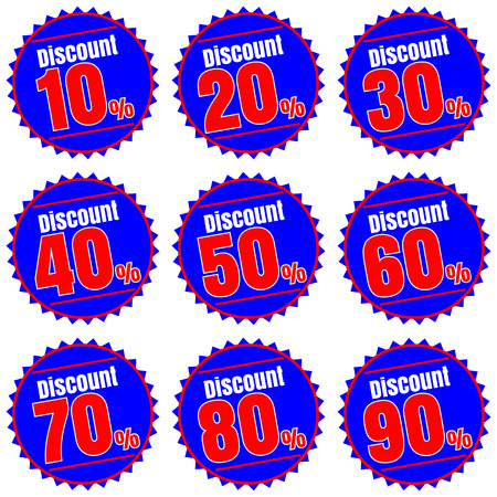 Sale, discount labels. Special offer price signs. 10, 20, 30, 40, 50, 60, 70, 80 and 90 percent off reduction symbols.