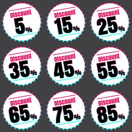25 35: Sale, discount labels. Special offer price signs. 5, 15, 25, 35, 45, 55, 65, 75 and 85 percent off reduction symbols.
