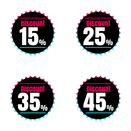 price reduction: Sale, discount labels. Special offer price signs. 15, 25, 35 and 45 percent off reduction symbols. Illustration