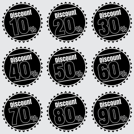 30 to 40: Sale, discount labels. Special offer price signs. 10, 20, 30, 40, 50, 60, 70, 80 and 90 percent off reduction symbols.