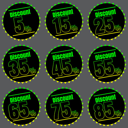 35: Sale, discount labels. Special offer price signs. 5, 15, 25, 35, 45, 55, 65, 75 and 85 percent off reduction symbols.