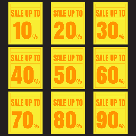 80 90: Sale, discount labels. Special offer price signs.