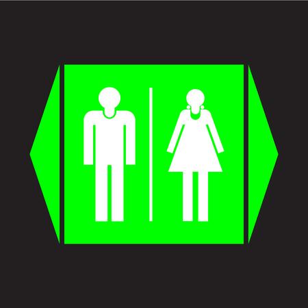 restroom sign: Male and female restroom sign icon on black background. Illustration