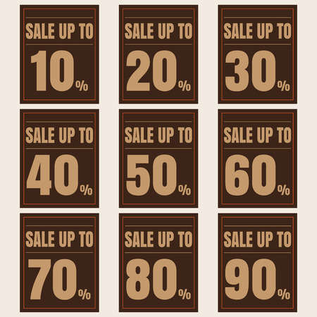 80 90: Sale, discount labels. Special offer price signs. 10, 20, 30, 40, 50, 60, 70, 80 and 90 percent off reduction symbols.