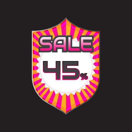 reduction: Sale, discount labels. Special offer price signs. 45 percent off reduction symbol.