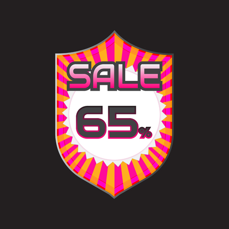 65: Sale, discount labels. Special offer price signs. 65 percent off reduction symbol.
