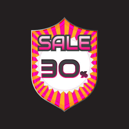 price reduction: Sale, discount labels. Special offer price signs. 30 percent off reduction symbol. Illustration