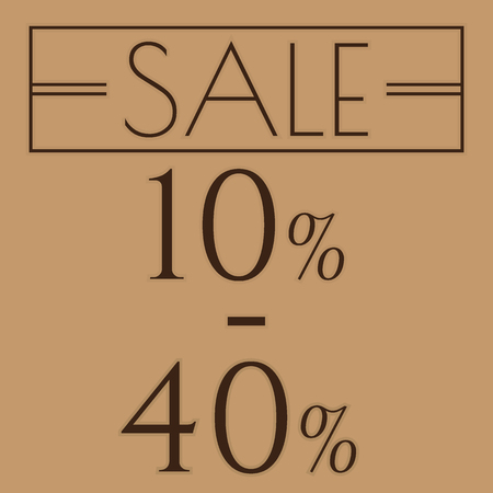 ten best: Sale, discount labels. Special offer price signs. 10 - 40 percent off reduction symbol.