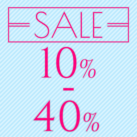 reduction: Sale, discount labels. Special offer price signs. 10 - 40 percent off reduction symbol.