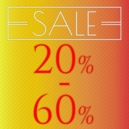 60: Sale, discount labels. Special offer price signs. 20 - 60 percent off reduction symbol. Illustration