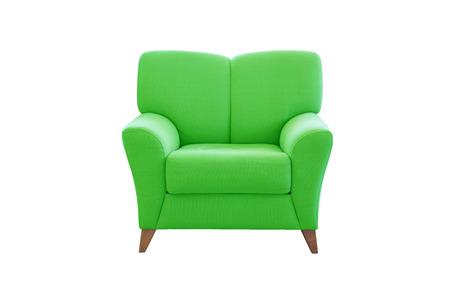white sofa: Green sofa seat isolated on white background. Modern sofa seat.