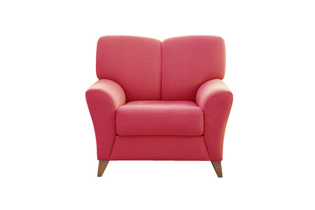 white sofa: Red sofa seat isolated on white background. Modern sofa seat.