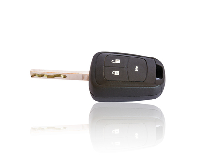 car accessory: car key on white background