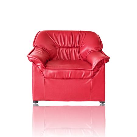 white sofa: Red sofa furniture on white background Stock Photo