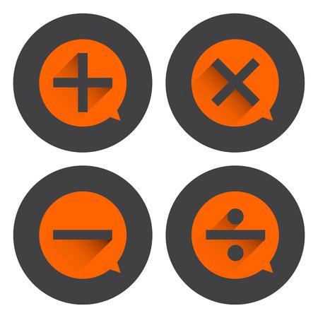 Basic Mathematical symbols on orange bubble and black circle background. Illustration