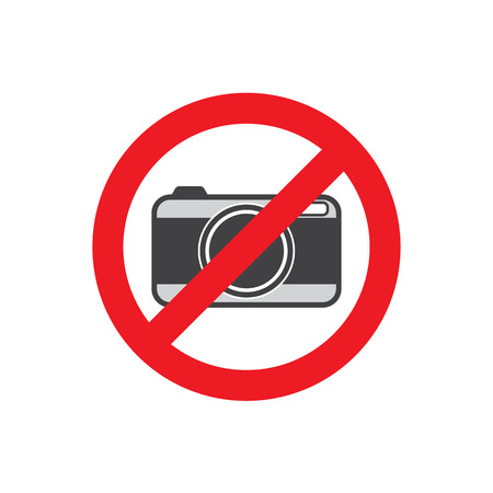 no cameras allowed: No photo camera sign isolated on white background.