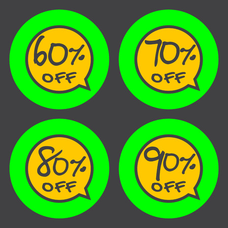 70 80: Sale, discount labels. Special offer price signs. 60, 70, 80 and 90 percent off reduction symbols.