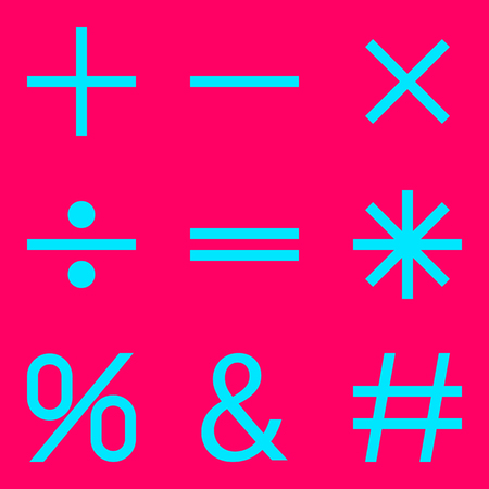 plain button: Basic Mathematical symbols on pink background. Vector illustration EPS 10.