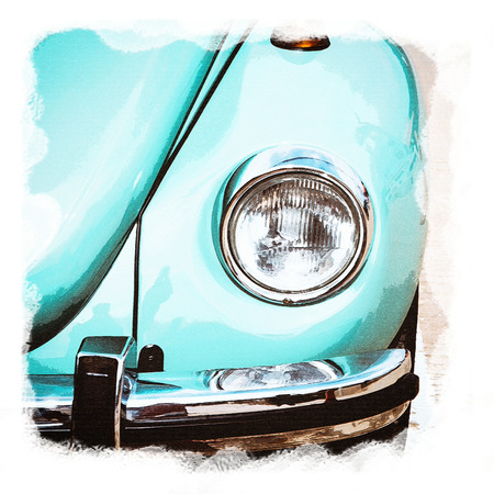 Watercolour painting of vintage headlight classic car. Stock Photo
