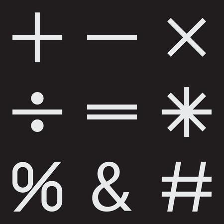 basic: Basic Mathematical symbols on black background. Vector illustration
