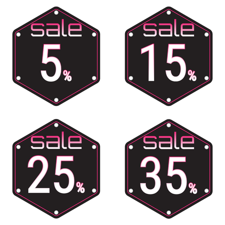 Sale, discount labels. Special offer price signs. 5, 15, 25 and 35 percent off reduction symbols.