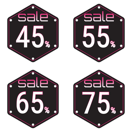 45: Sale, discount labels. Special offer price signs. 45, 55, 65 and 75 percent off reduction symbols. Illustration