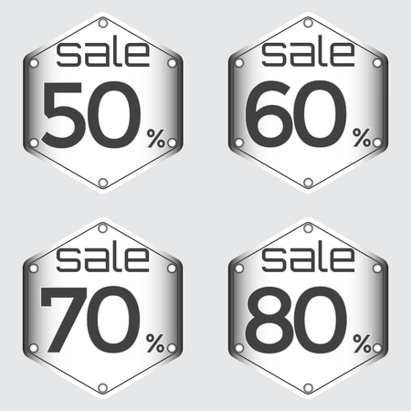 50 to 60: Sale, discount labels. Special offer price signs. 50, 60, 70 and 80 percent off reduction symbols.