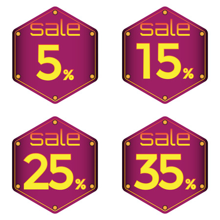 25 35: Sale, discount labels. Special offer price signs. 5, 15, 25 and 35 percent off reduction symbols.