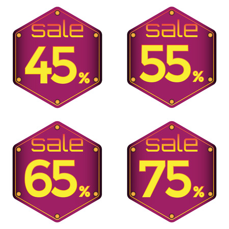 Sale, discount labels. Special offer price signs. 45, 55, 65 and 75 percent off reduction symbols. Illustration