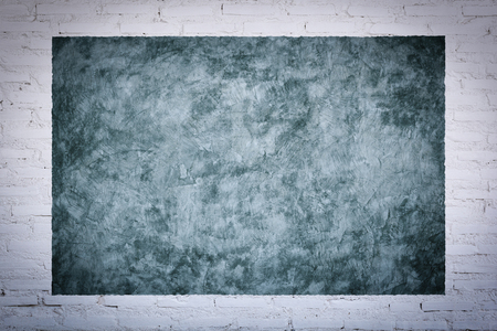 concrete commercial block: Frame background of bare concreter with white brick wall texture. For design pattern artwork. Stock Photo