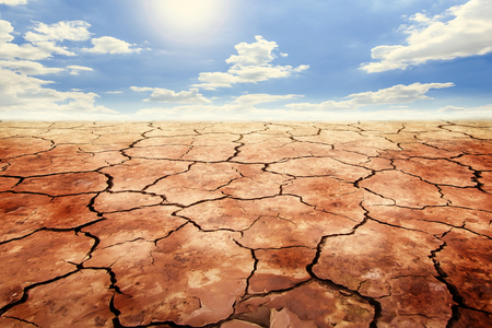 Dry cracked soil in drought land under sky background. Stock Photo
