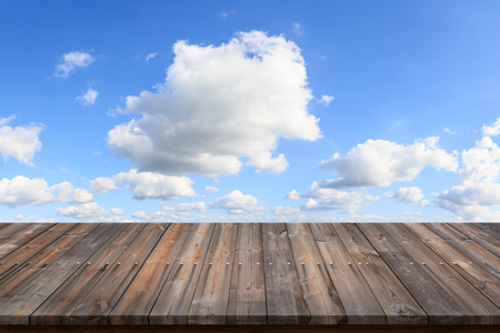 old wood floor: Empty of old wood floor with blue sky background. Stock Photo