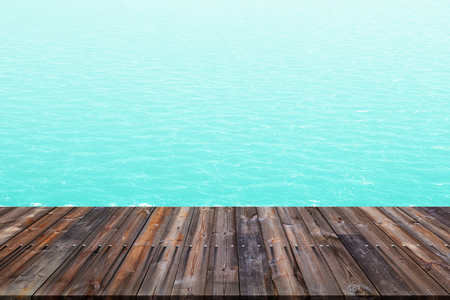 old wood floor: Old wood floor with blue sea background. Stock Photo