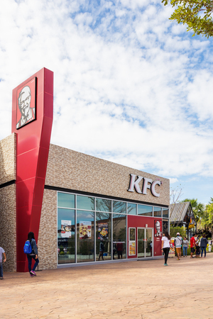 Buriram, Thailand - January 3, 2017: Kentucky Fried Chicken (KFC) restaurant in Buriram castle, Thailand. KFC is a fast food restaurant chain headquartered in United States. Editorial