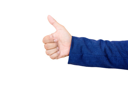 alright: Businessmans hand with thumb up isolated on white background. Stock Photo