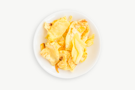 Top view of durian chips on white background Stock Photo