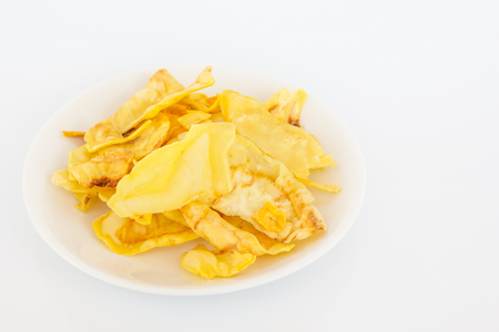Durian chips on white background.