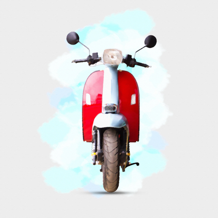 watercolour painting of red motorcycle on white background. Stock Photo