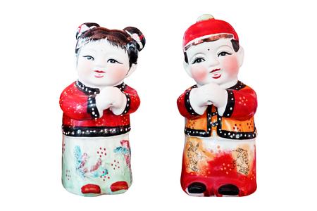 Chinese doll isolated on white background Stock Photo