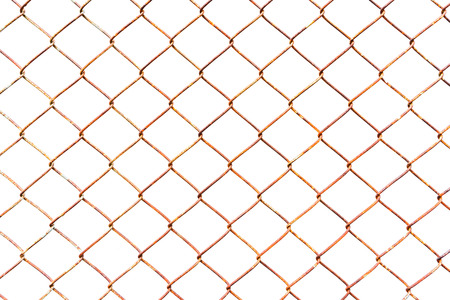 Old metal net on white background