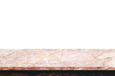Empty top of natural marble table on white background. Stock Photo
