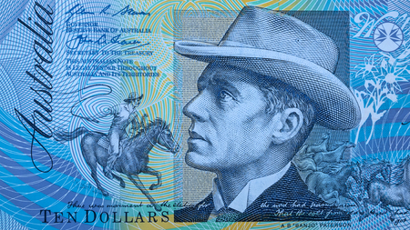 Portrait of Reverend Banjo Paterson from Australian 10 dollar background