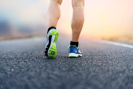 An athlete running sport feet on trail healthy lifestyle fitness 版權商用圖片