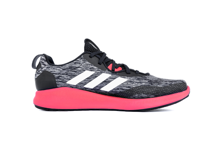 Roi Et, Thailand - June 7, 2019 : Adidas PUREBOUNCE+ STREET SHOES. Lightweight running shoes with springy cushioning. Energised cushioning foam cushioning delivers an agile.